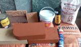Плитка Терракот, смеси печные, шамотный и керамический кирпич, термостойкая краска и лак, масло.